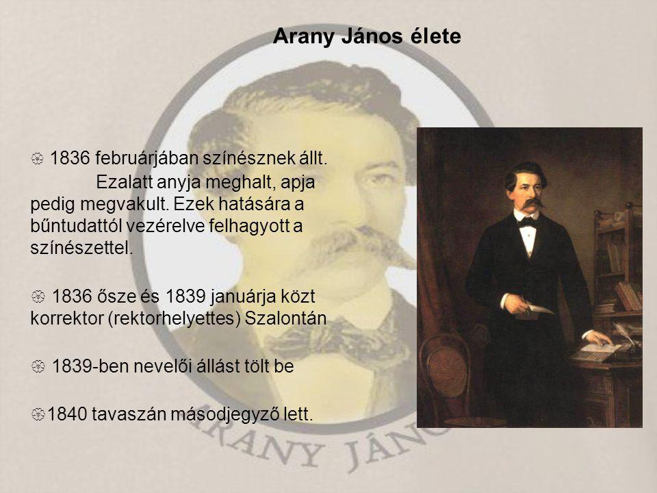 Arany János élete  1836 februárjában színésznek állt. Ezalatt anyja meghalt, apja pedig megvakult. Ezek hatására a bűntudattól vezérelve felhagyott a