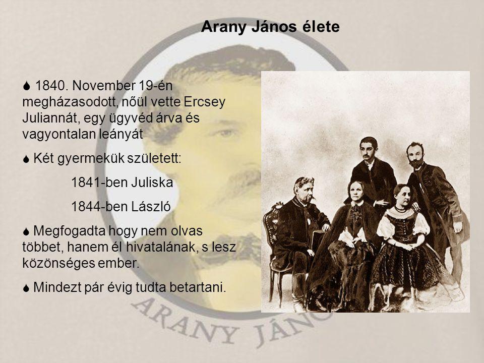 Arany János élete  1840. November 19-én megházasodott, nőül vette Ercsey Juliannát, egy ügyvéd árva és vagyontalan leányát  Két gyermekük született: