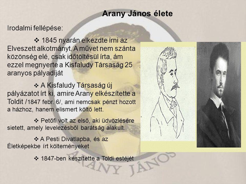 Arany János élete Irodalmi fellépése:  1845 nyarán elkezdte írni az Elveszett alkotmányt. A művet nem szánta közönség elé, csak időtöltésül írta, ám