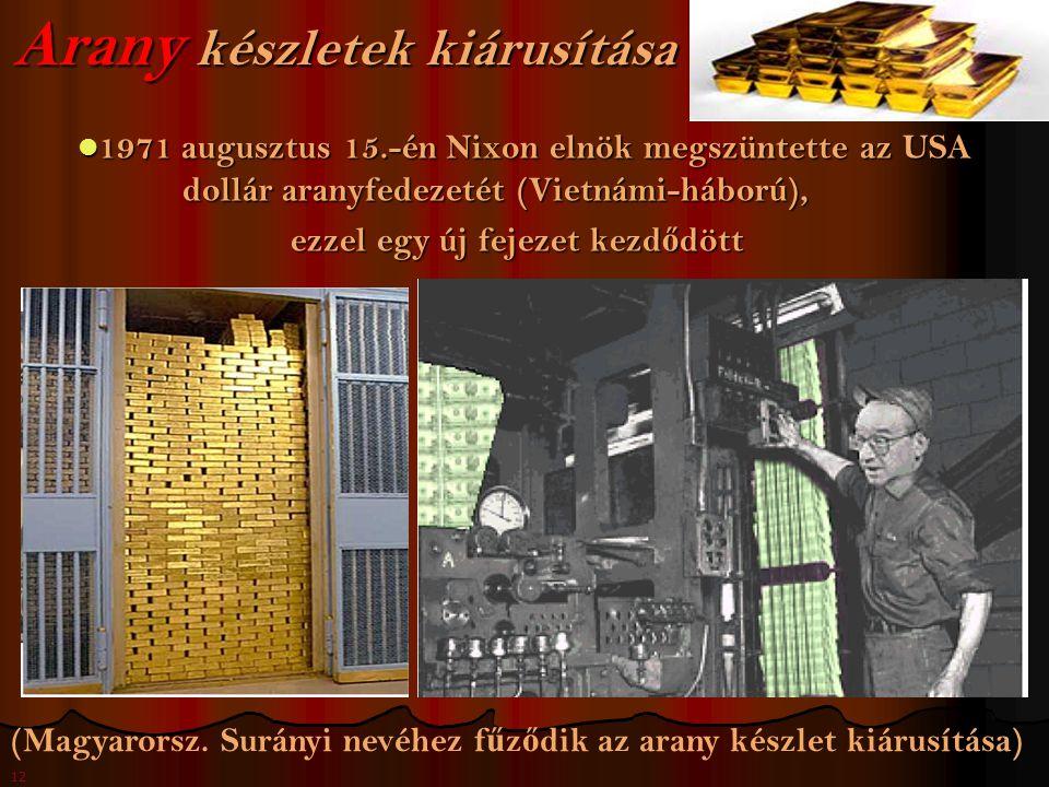 12 Arany készletek kiárusítása 1971 augusztus 15.-én Nixon elnök megszüntette az USA dollár aranyfedezetét (Vietnámi-háború), 1971 augusztus 15.-én Nixon elnök megszüntette az USA dollár aranyfedezetét (Vietnámi-háború), ezzel egy új fejezet kezd ő dött ezzel egy új fejezet kezd ő dött (Magyarorsz.