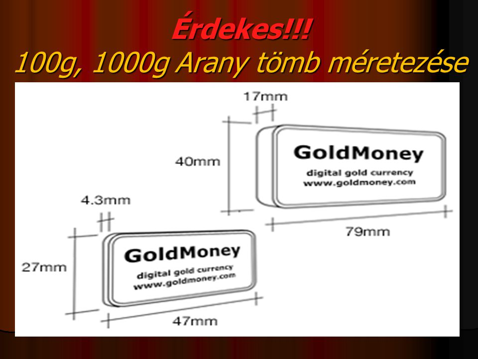 Érdekes!!! 100g, 1000g Arany tömb méretezése