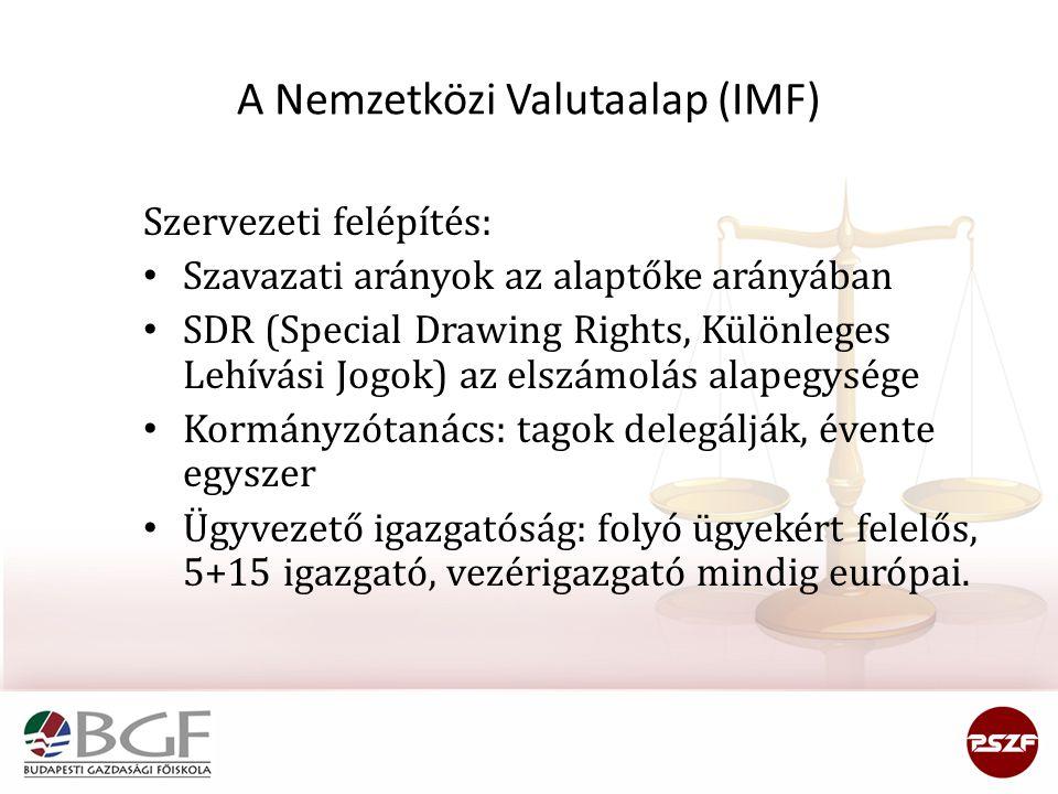 A Nemzetközi Valutaalap (IMF) Szervezeti felépítés: Szavazati arányok az alaptőke arányában SDR (Special Drawing Rights, Különleges Lehívási Jogok) az