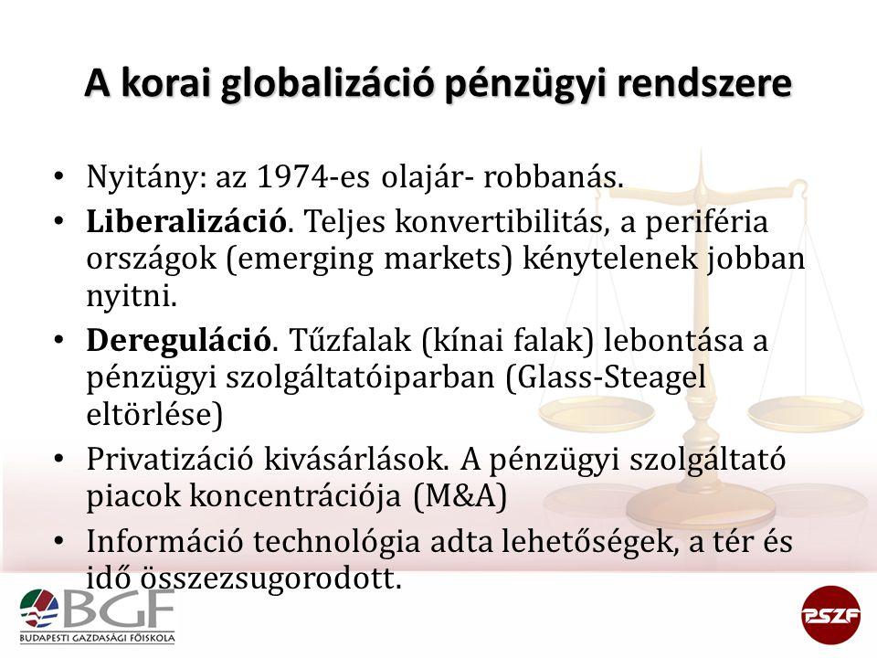 A korai globalizáció pénzügyi rendszere Nyitány: az 1974-es olajár- robbanás. Liberalizáció. Teljes konvertibilitás, a periféria országok (emerging ma