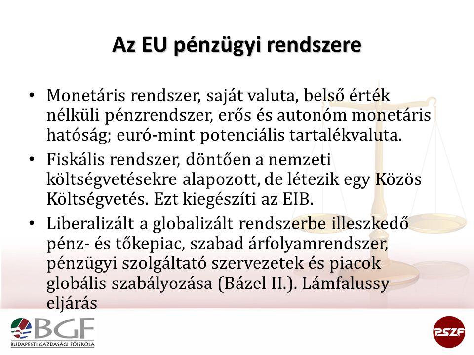 Az EU pénzügyi rendszere Monetáris rendszer, saját valuta, belső érték nélküli pénzrendszer, erős és autonóm monetáris hatóság; euró-mint potenciális tartalékvaluta.