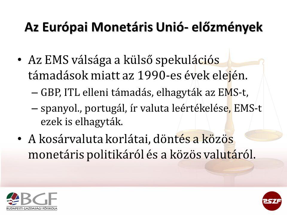 Az Európai Monetáris Unió- előzmények Az EMS válsága a külső spekulációs támadások miatt az 1990-es évek elején. – GBP, ITL elleni támadás, elhagyták