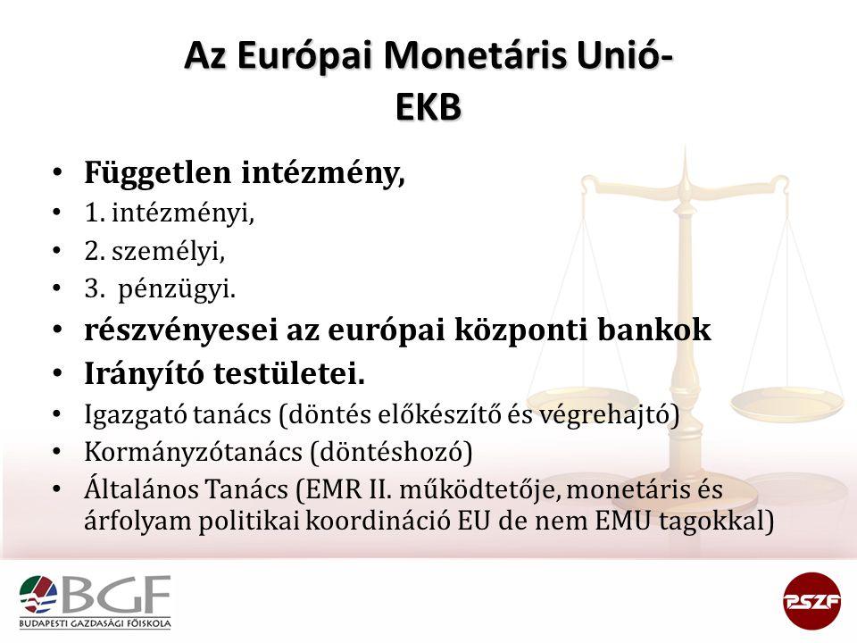Az Európai Monetáris Unió- EKB Független intézmény, 1. intézményi, 2. személyi, 3. pénzügyi. részvényesei az európai központi bankok Irányító testület