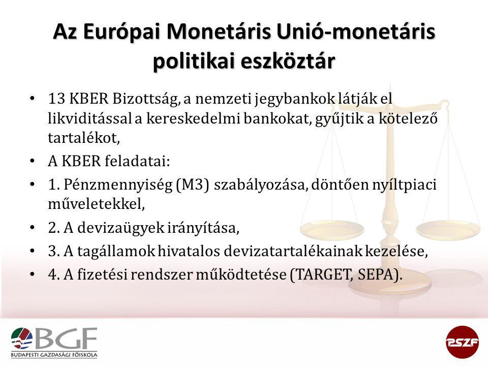 Az Európai Monetáris Unió-monetáris politikai eszköztár 13 KBER Bizottság, a nemzeti jegybankok látják el likviditással a kereskedelmi bankokat, gyűjtik a kötelező tartalékot, A KBER feladatai: 1.