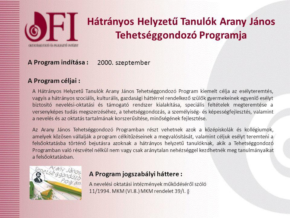 Hátrányos Helyzetű Tanulók Arany János Tehetséggondozó Programja A Program céljai : A Program jogszabályi háttere : A Program indítása : 2000.