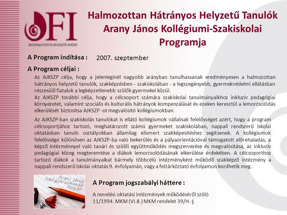Halmozottan Hátrányos Helyzetű Tanulók Arany János Kollégiumi-Szakiskolai Programja A Program céljai : A Program jogszabályi háttere : A Program indítása : 2007.