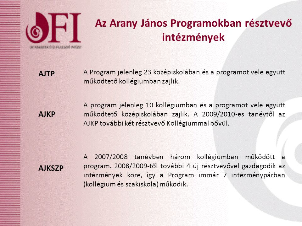 Az Arany János Programokban résztvevő intézmények AJKP AJTP AJKSZP A Program jelenleg 23 középiskolában és a programot vele együtt működtető kollégiumban zajlik.