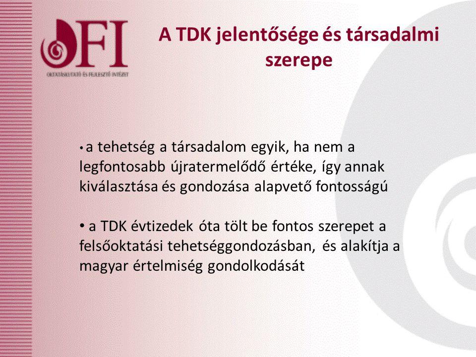 a tehetség a társadalom egyik, ha nem a legfontosabb újratermelődő értéke, így annak kiválasztása és gondozása alapvető fontosságú a TDK évtizedek óta tölt be fontos szerepet a felsőoktatási tehetséggondozásban, és alakítja a magyar értelmiség gondolkodását A TDK jelentősége és társadalmi szerepe