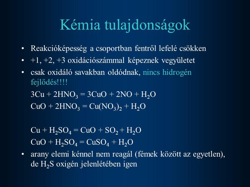 Kémia tulajdonságok Reakcióképesség a csoportban fentről lefelé csökken +1, +2, +3 oxidációszámmal képeznek vegyületet csak oxidáló savakban oldódnak,