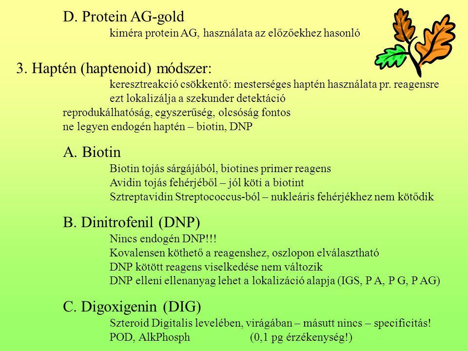 D.Protein AG-gold kiméra protein AG, használata az előzőekhez hasonló 3.