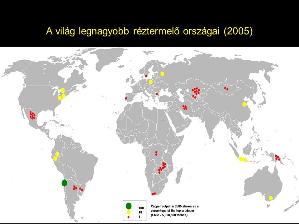A világ legnagyobb réztermelő országai (2005)