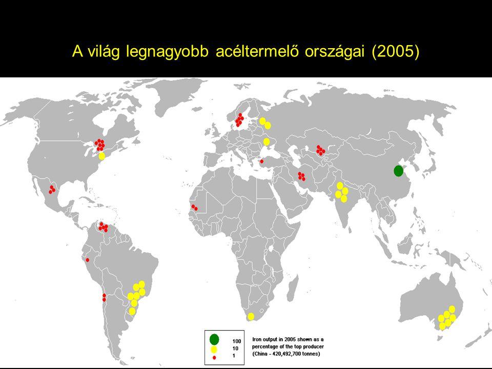 A világ legnagyobb acéltermelő országai (2005)