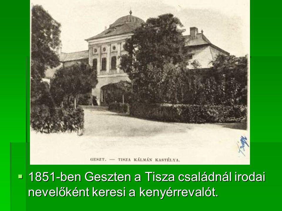  1851-ben Geszten a Tisza családnál irodai nevelőként keresi a kenyérrevalót.