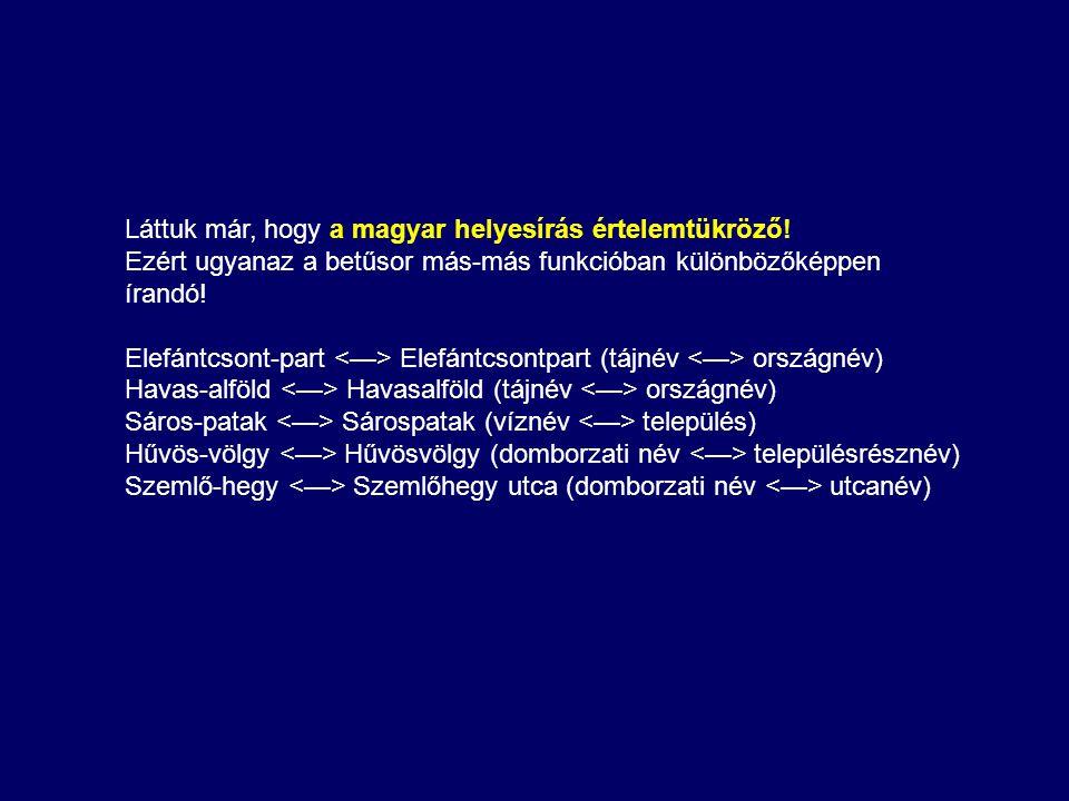 Láttuk már, hogy a magyar helyesírás értelemtükröző! Ezért ugyanaz a betűsor más-más funkcióban különbözőképpen írandó! Elefántcsont-part Elefántcsont