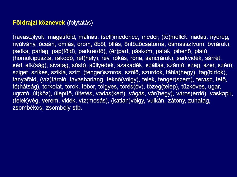 Földrajzi köznevek (folytatás) (ravasz)lyuk, magasföld, málnás, (self)medence, meder, (tó)mellék, nádas, nyereg, nyúlvány, óceán, omlás, orom, öböl, ö