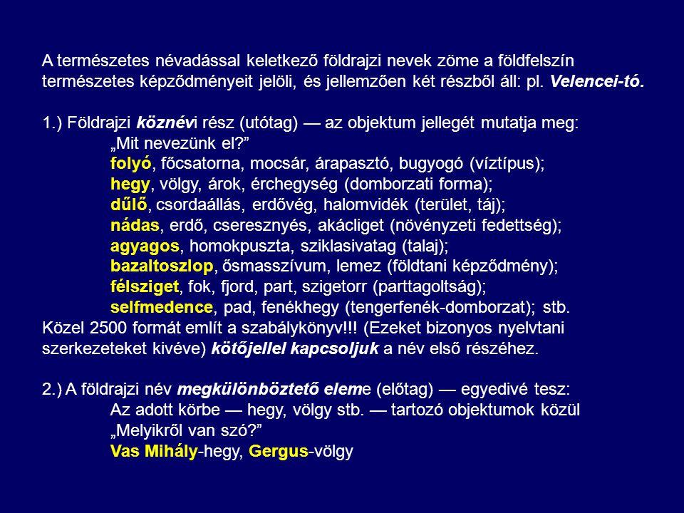 A természetes névadással keletkező földrajzi nevek zöme a földfelszín természetes képződményeit jelöli, és jellemzően két részből áll: pl. Velencei-tó