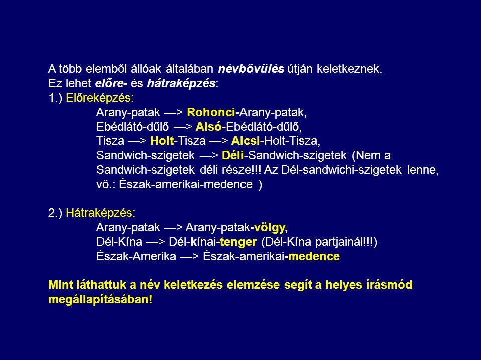 Általában érvényesül a település- (tágabban az igazgatási) nevek elsődlegessége a név származtatásában: 1.) Szent György-völgy (völgy, létrejön benne egy település:) Szentgyörgyvölgy.