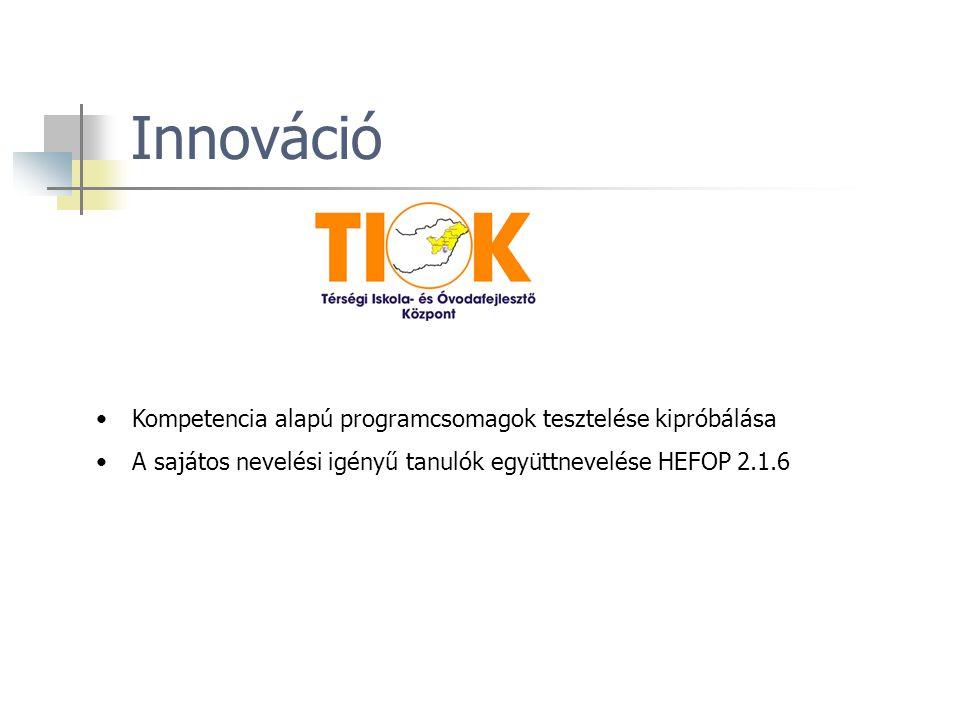 Innováció Kompetencia alapú programcsomagok tesztelése kipróbálása A sajátos nevelési igényű tanulók együttnevelése HEFOP 2.1.6