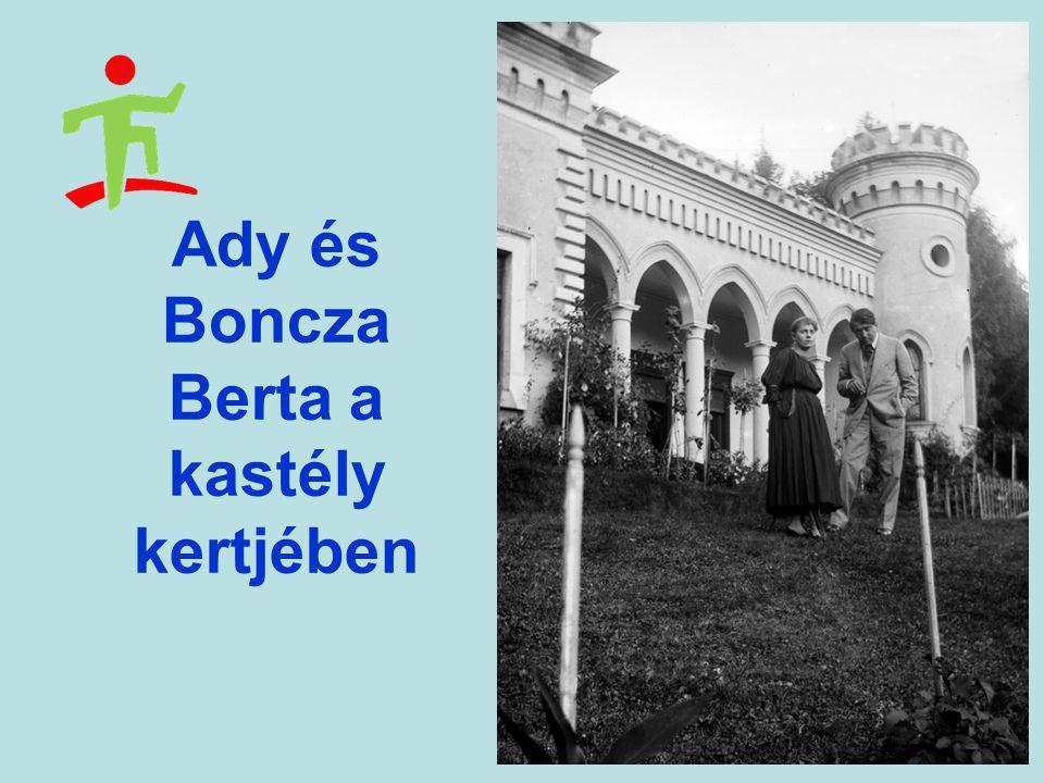 Ady és Boncza Berta a kastély kertjében