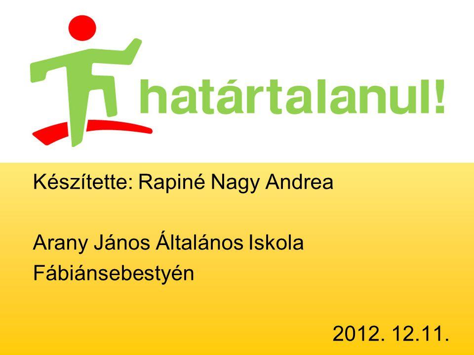 Készítette: Rapiné Nagy Andrea Arany János Általános Iskola Fábiánsebestyén 2012. 12.11.