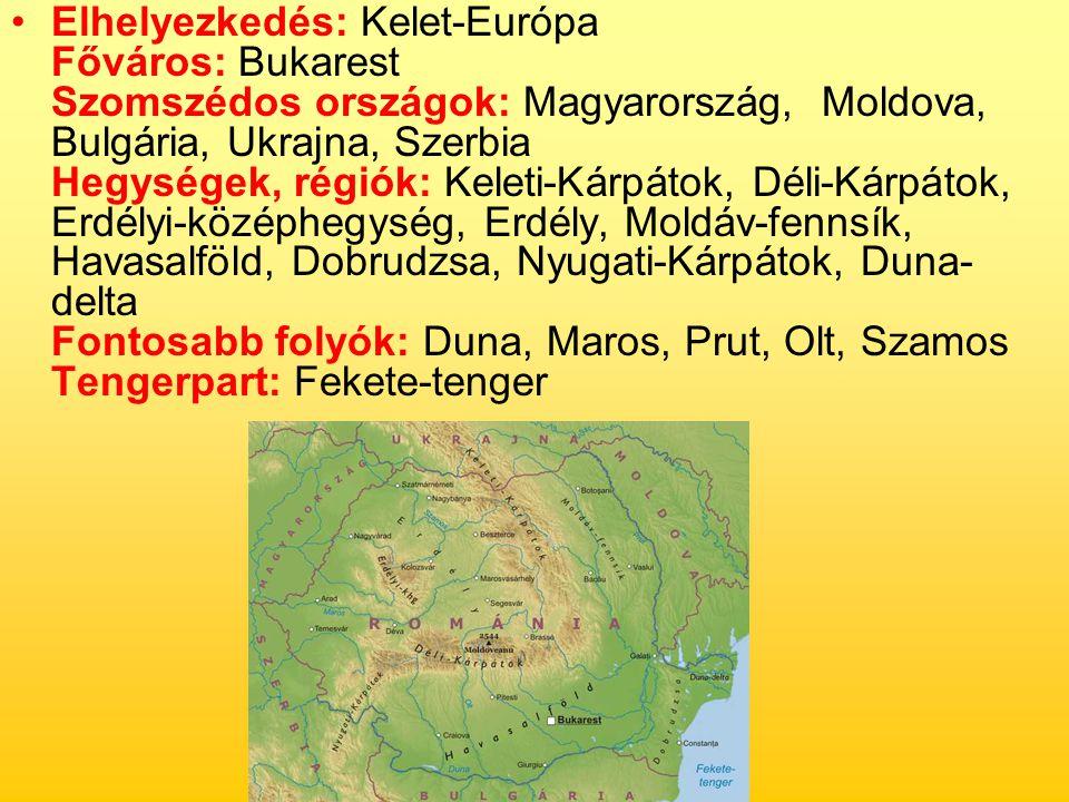 Elhelyezkedés: Kelet-Európa Főváros: Bukarest Szomszédos országok: Magyarország, Moldova, Bulgária, Ukrajna, Szerbia Hegységek, régiók: Keleti-Kárpáto