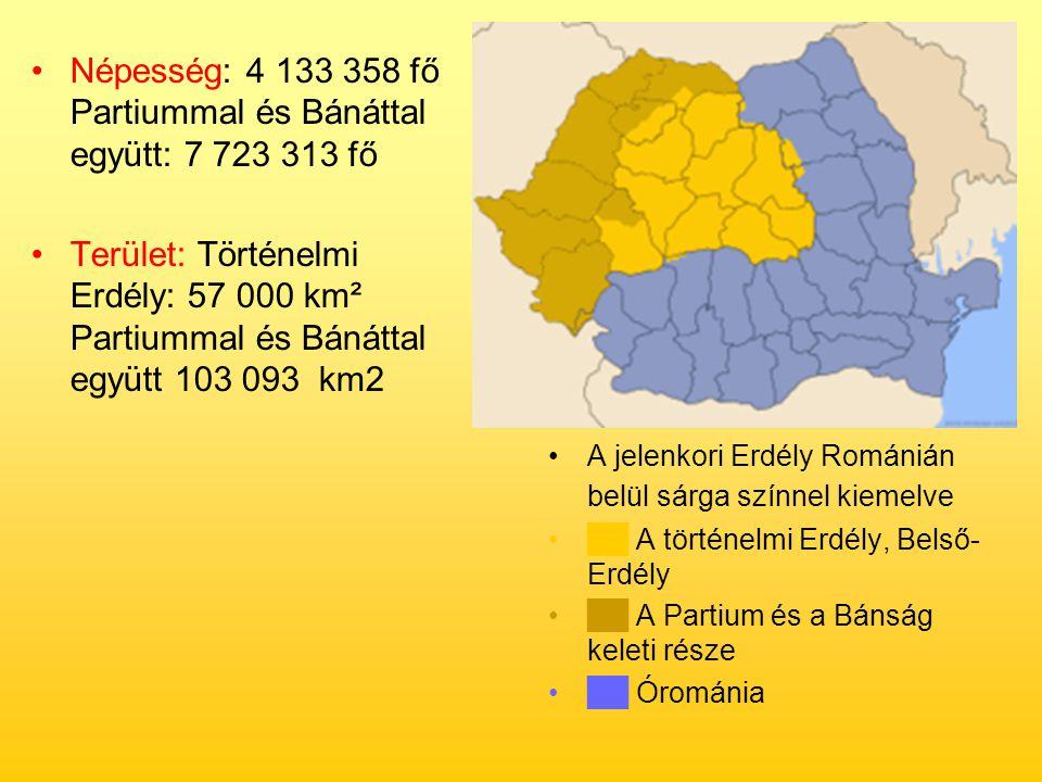 Népesség: 4 133 358 fő Partiummal és Bánáttal együtt: 7 723 313 fő Terület: Történelmi Erdély: 57 000 km² Partiummal és Bánáttal együtt 103 093 km2 A
