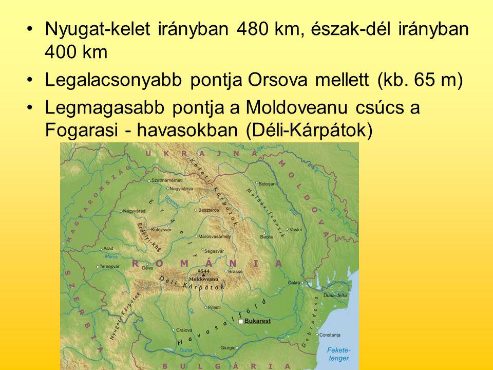 Nyugat-kelet irányban 480 km, észak-dél irányban 400 km Legalacsonyabb pontja Orsova mellett (kb. 65 m) Legmagasabb pontja a Moldoveanu csúcs a Fogara