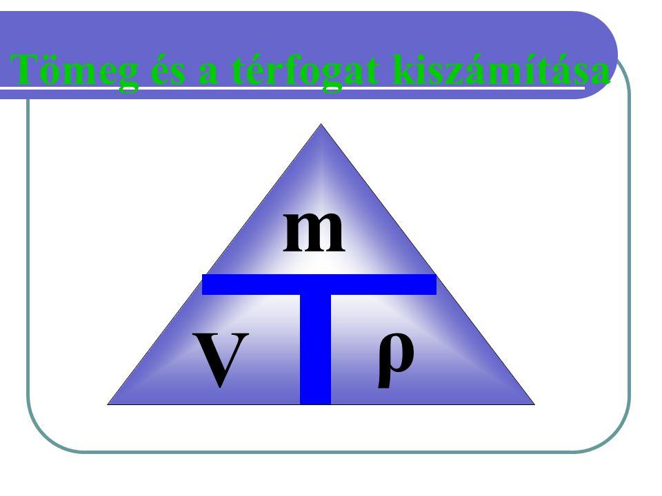 Tömeg és a térfogat kiszámítása m V ρ