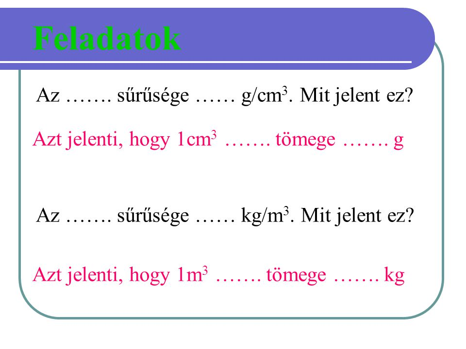 Az ……. sűrűsége …… g/cm 3. Mit jelent ez? Az ……. sűrűsége …… kg/m 3. Mit jelent ez? Feladatok Azt jelenti, hogy 1cm 3 ……. tömege ……. g Azt jelenti, ho