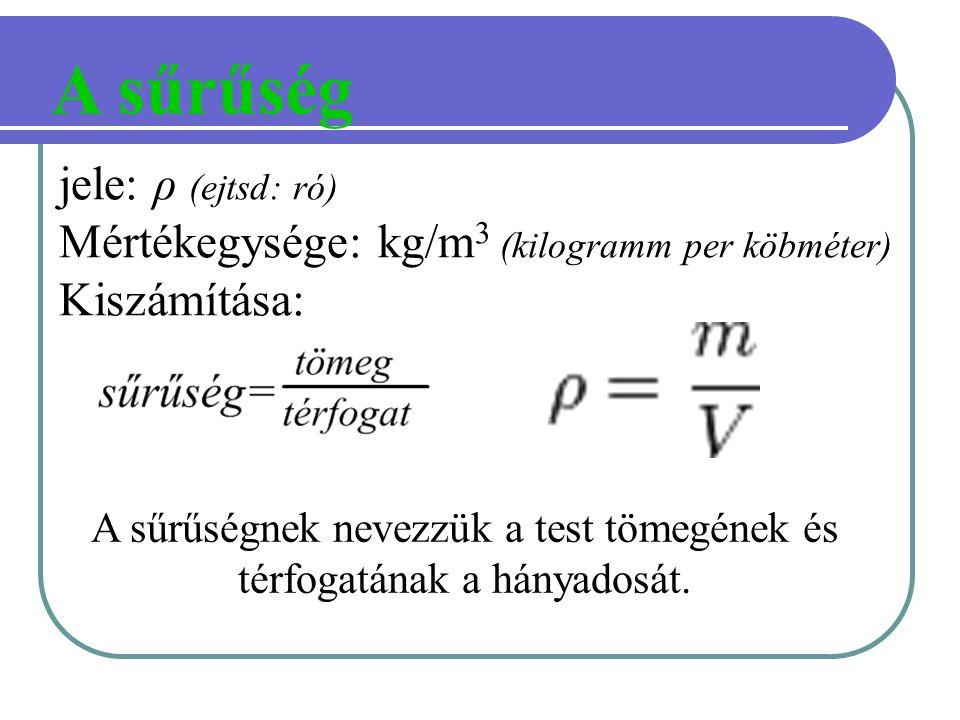 A sűrűség jele: ρ (ejtsd: ró) Mértékegysége: kg/m 3 (kilogramm per köbméter) Kiszámítása: A sűrűségnek nevezzük a test tömegének és térfogatának a hán