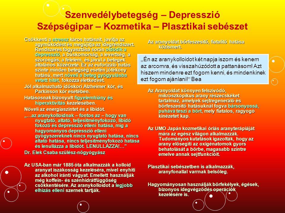 Szenvedélybetegség – Depresszió Szépségipar – Kozmetika – Plasztikai sebészet Csökkenti a stressz káros hatásait, javítja az agyműködést és megújítja