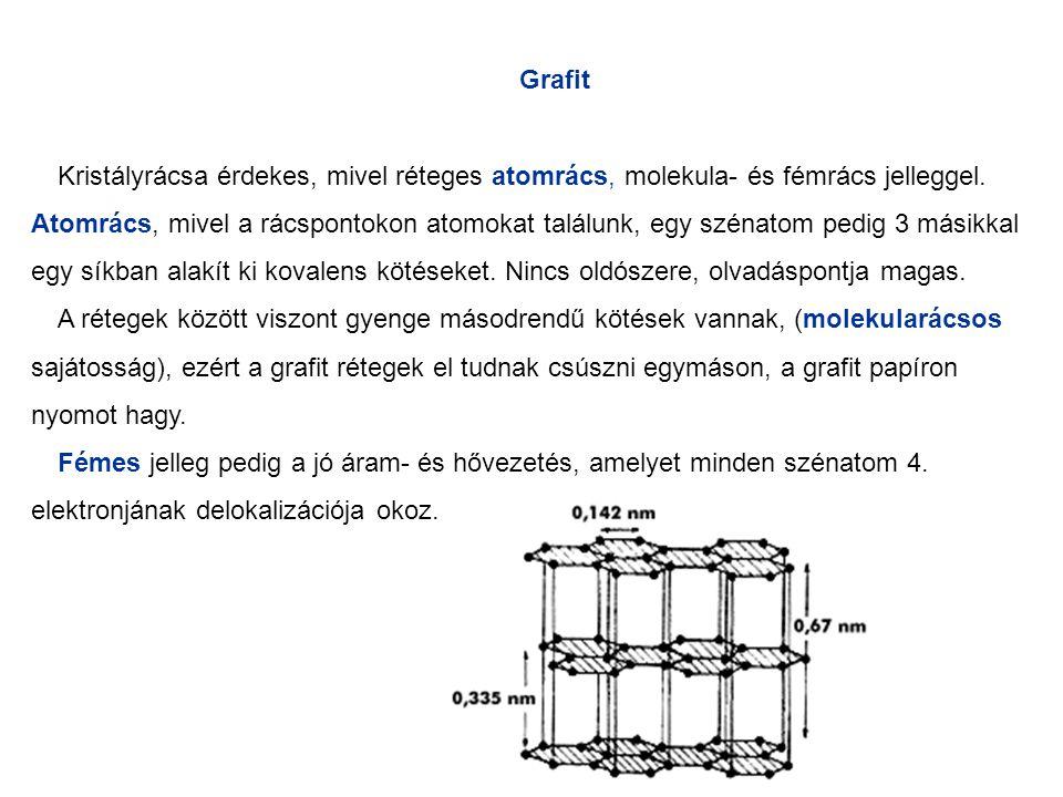 Grafit Kristályrácsa érdekes, mivel réteges atomrács, molekula- és fémrács jelleggel. Atomrács, mivel a rácspontokon atomokat találunk, egy szénatom p