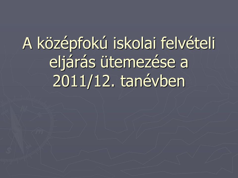 A középfokú iskolai felvételi eljárás ütemezése a 2011/12. tanévben
