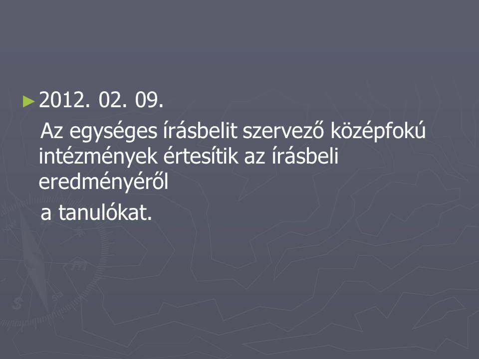 ► ► 2012. 02. 09. Az egységes írásbelit szervező középfokú intézmények értesítik az írásbeli eredményéről a tanulókat.