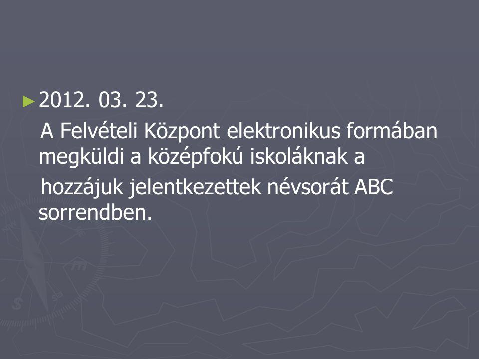 ► ► 2012. 03. 23. A Felvételi Központ elektronikus formában megküldi a középfokú iskoláknak a hozzájuk jelentkezettek névsorát ABC sorrendben.