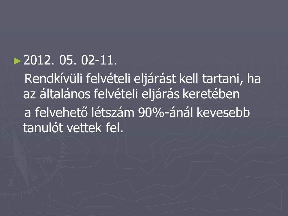 ► ► 2012. 05. 02-11. Rendkívüli felvételi eljárást kell tartani, ha az általános felvételi eljárás keretében a felvehető létszám 90%-ánál kevesebb tan