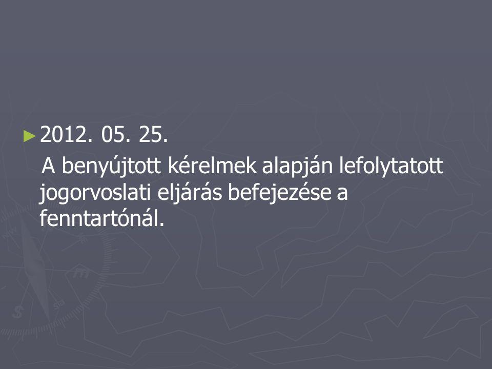 ► ► 2012. 05. 25. A benyújtott kérelmek alapján lefolytatott jogorvoslati eljárás befejezése a fenntartónál.