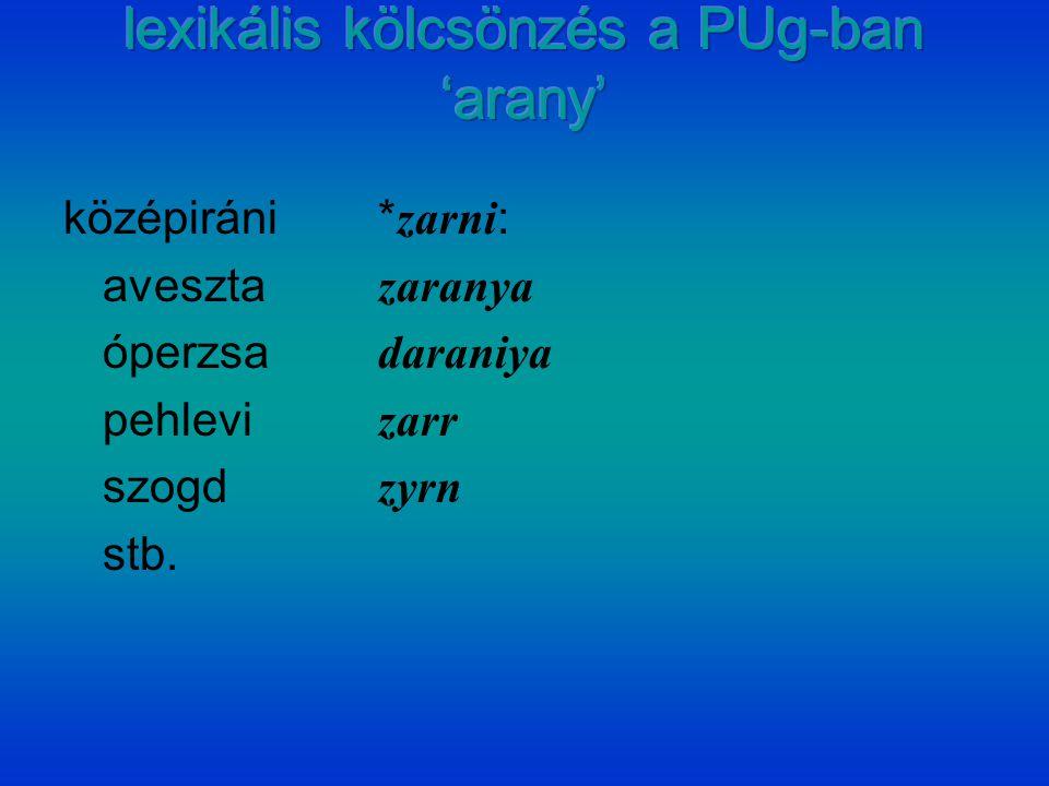 középiráni* zarni : aveszta zaranya óperzsa daraniya pehlevi zarr szogd zyrn stb.