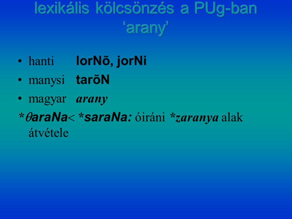 hanti lorNõ, jorNi manysi tarõN magyararany *  araNa  * saraNa: óiráni *zaranya alak átvétele