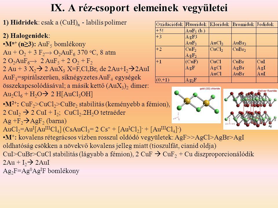 2) Halogenidek: M n+ (n≥3): AuF 5 bomlékony Au + O 2 + 3 F 2  O 2 AuF 6 370 o C, 8 atm 2 O 2 AuF 6  2 AuF 5 + 2 O 2 + F 2 2 Au + 3 X 2  2 AuX 3 X=F