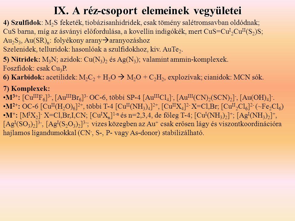 IX. A réz-csoport elemeinek vegyületei 4) Szulfidok: M 2 S feketék, tiobázisanhidridek, csak tömény salétromsavban oldódnak; CuS barna, míg az ásványi