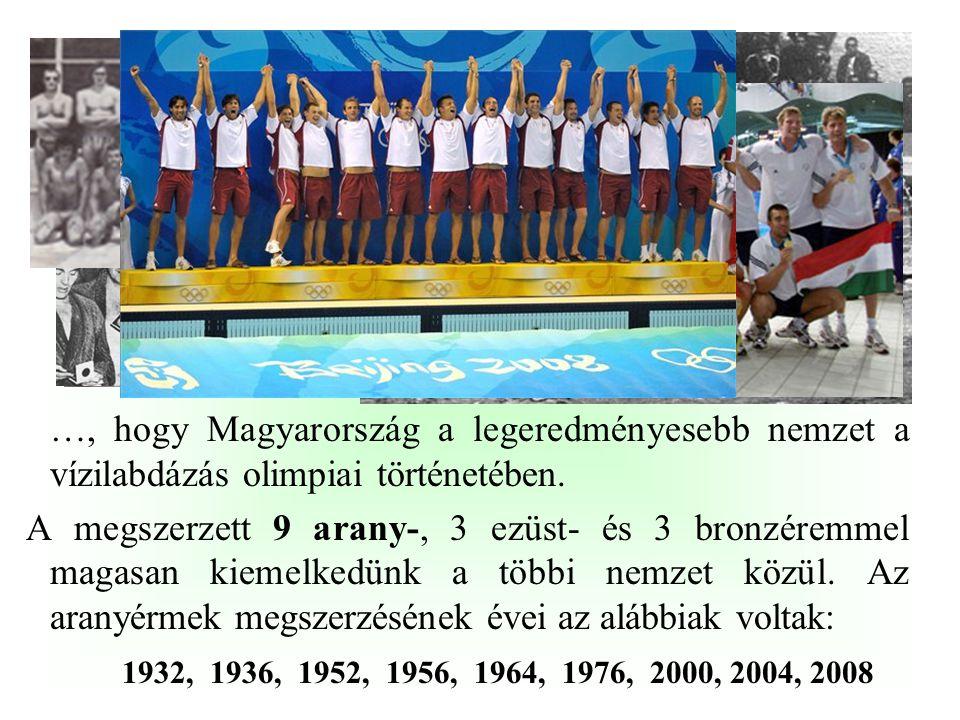 …, hogy Magyarország egyike azon kevés országnak, amely valamennyi nyári olimpiai szereplése alkalmával szerzett aranyérmet. Eddig 22 alkalommal vettü