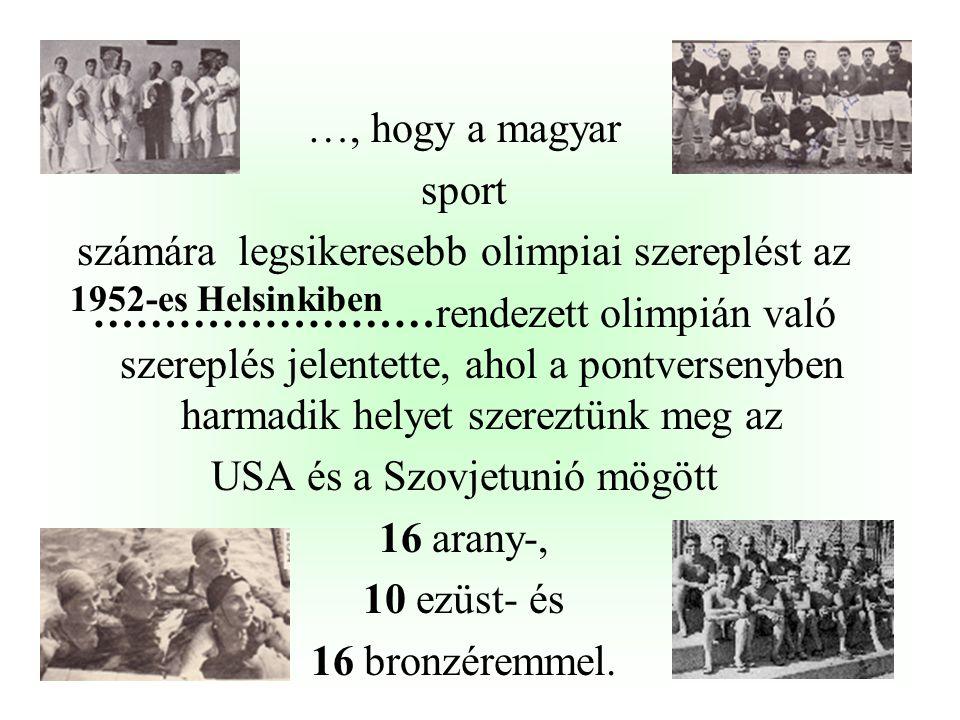 …, hogy a magyar sport számára legsikeresebb olimpiai szereplést az ……………………rendezett olimpián való szereplés jelentette, ahol a pontversenyben harmadik helyet szereztünk meg az USA és a Szovjetunió mögött 16 arany-, 10 ezüst- és 16 bronzéremmel.