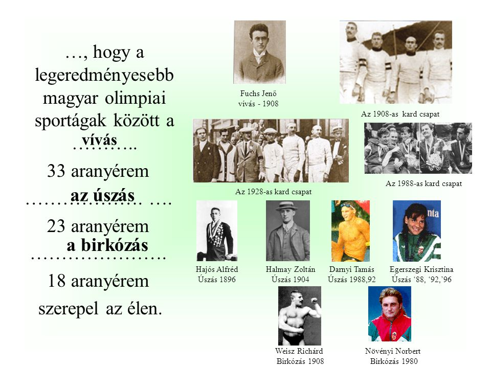 …hogy bár hivatalosan nem került az érmesek közé, de első olimpiai bajnokunk, Hajós Alfréd is bajnok lett 1924-ben Párizsban a …………..
