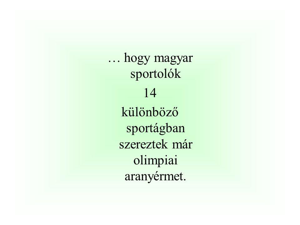 …, hogy a legeredményesebb magyar olimpiai sportágak között a ……….. 33 aranyérem ………………. …. 23 aranyérem …………………. 18 aranyérem szerepel az élen. Hajós