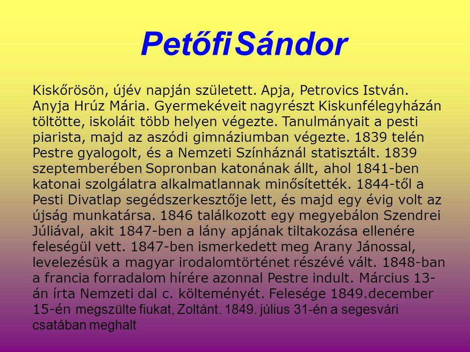 Petőfi Sándor Kiskőrösön, újév napján született. Apja, Petrovics István. Anyja Hrúz Mária. Gyermekéveit nagyrészt Kiskunfélegyházán töltötte, iskoláit