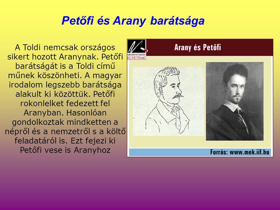 A Toldi nemcsak országos sikert hozott Aranynak. Petőfi barátságát is a Toldi című műnek köszönheti. A magyar irodalom legszebb barátsága alakult ki k